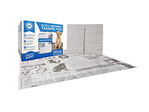 American Kennel Club AKC 100 Count Fresh Scent Newspaper Print Training Pads (American Kennel Club Recognizes 4 New Breeds)