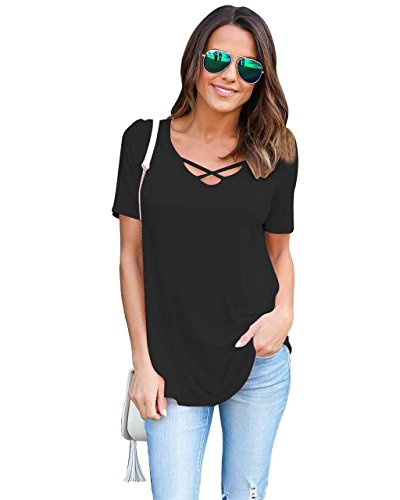 Camisetas Anchas Mujer Camiseta Camisas Para Damas Camisa Manga Corta Carta Estampadas Señora Verano Remeras Poleras de Mujer Tops Cuello en V Blusas Elegantes Blusa Fiesta Top Negro
