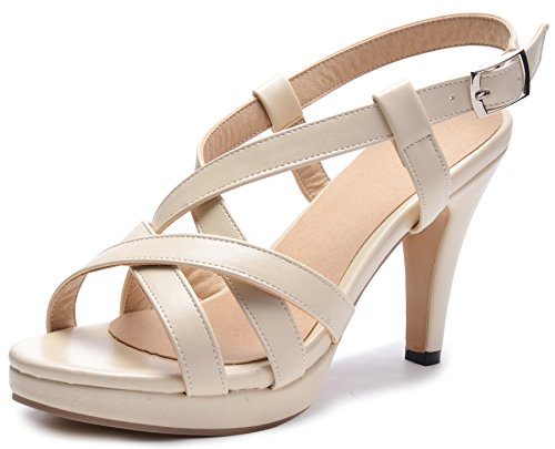 Odema Womens High Heel Sandals Criss-Cross Ankle Strap (Criss Cross Sandal Pump)