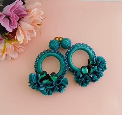 Camile Turquoise Hoop Earrings - Threaded and Beaded Earrings