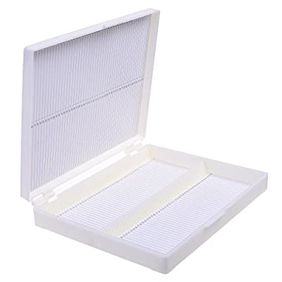 BCP 100 Place Capacity Plastic Rectangle Microscope Slide Storage Box 7-3/4 x 6-1/4 Inches