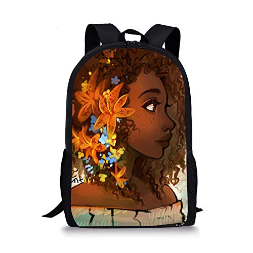 Thikin African Girls School Backpack with Padded Straps 3D Cartoon Student Stylish Unisex Daypack for Boys Girls School Book Bags