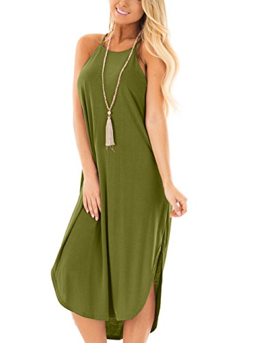 Jug&Po Women's Summer Casual Sleeveless Maxi Dress with Rounded Hem(Army Green (Army Outfits For Womens)