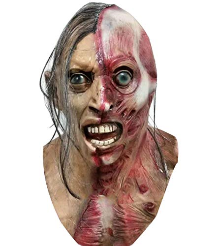 Halloween Mask Yin and Yang Face Zombie Masks, Horror Masks,Full Head Mask, Resident Evil Monster Mask, Zombie Costume Party Rubber Latex -