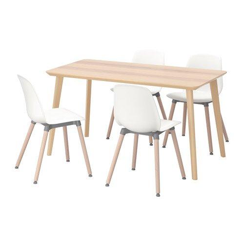 Ikea Table and 4 chairs, ash veneer, white 6204.20514.3418