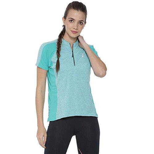 c7b3e2d6507 Campus Sutra Striped Women Mandarin Collar Light Green T-Shirt