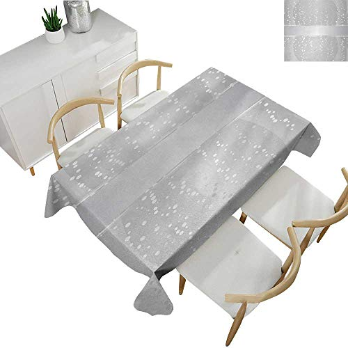 Border Big Bold (Grey,Rectangle Table Cover Cloth Vertical Wavy Lines with Festive Little Dots and a Bold Border Christmas Celebration Modern Washable Tablecovers Silver White 70
