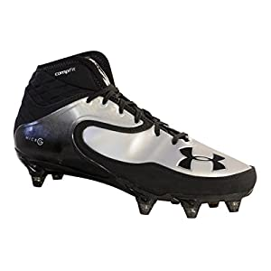 Under Armour Nitro Icon MID D Black Silver Football Shoes Detachable Cleats (9)