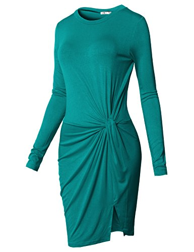 H2H Women Sexy Long Sleeve Ruched Twist Twisted Knot Knotted Front T-Shirt Mini Babydoll Dresses TEAL US L/Asia L (Open Front Mini Dress)