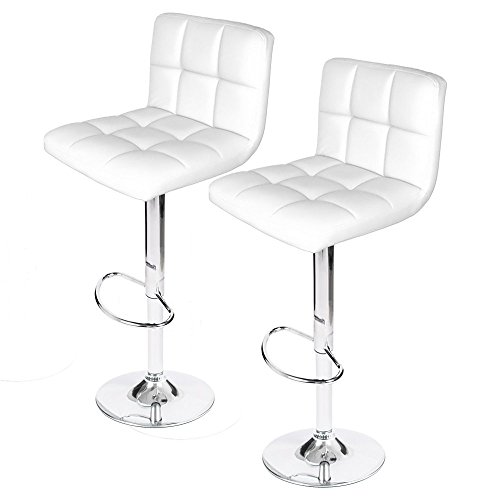 Homall Modern PU Leather Swivel Adjustable Barstools,Synthetic Leather Hydraulic Counter Stools (White Set of 2)