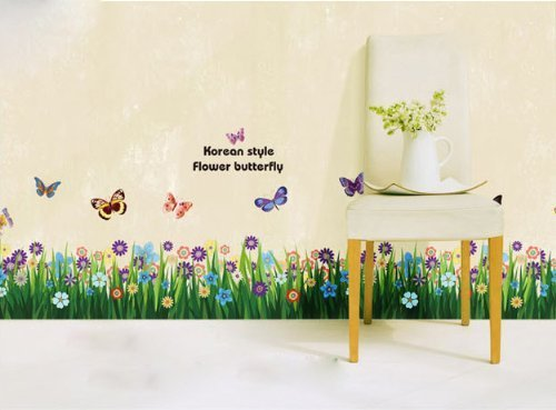 Amaonm Beautiful Flowers Grasses and Butterflies Wall Decals Removable Wall Stickers Murals Butterfly Garden Decorative Peel & Stick Wall Art Sticker Decals for Home Bedroom Living Room Office Classroom
