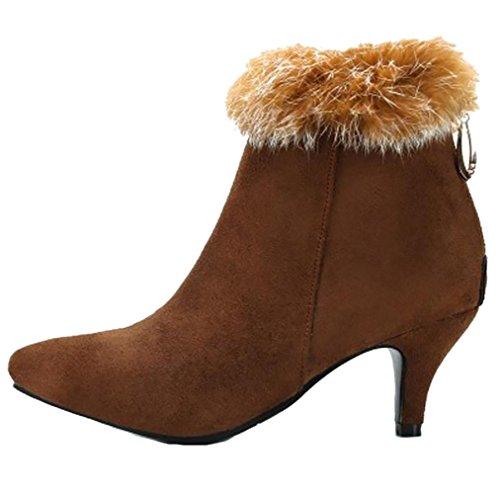 Zipper Taoffen Women's Bootie Brown Boots 11xnO
