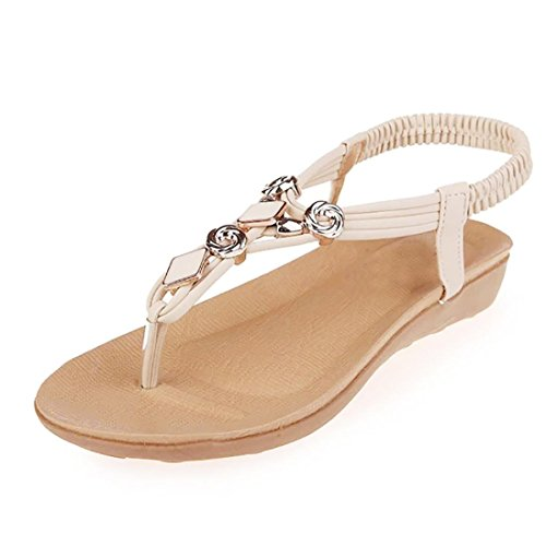 Transer Ladies Beaded Bohemia Flat Sandals- Women Summer Flip Flops Sandals Comfy Leisure Shoes Beige PdqaSM7