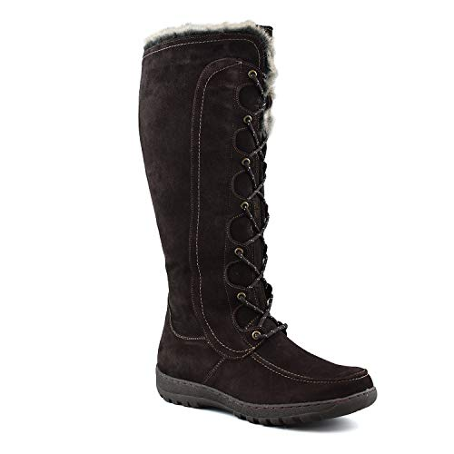 Cold Weather Fashion Boots - Comfy Moda Women's Winter Snow Boots Genuine Suede Leather #6-12 - Warsaw (11, Brown)