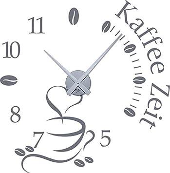 GRAZDesign Wandtattoo Uhr Küche & Esszimmer Kaffee Zeit - Wanduhr ...