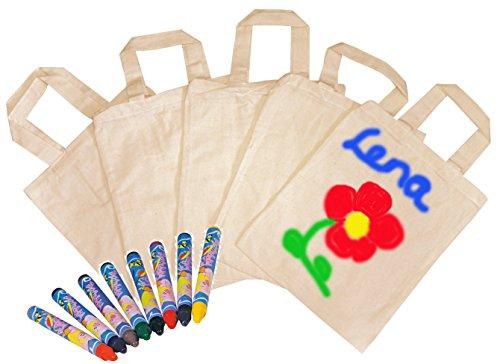 Partynelly® 5x Tragetaschen, natur, zum selbst gestalten + 1x Textilmalstifte, auch als Mitgebseltüten zum Kindergeburtstag