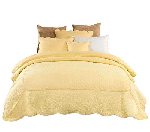 Tache Home Fashion YELLEMDES-King 3 Piece Cotton Quilted Solid Yellow Buttercup Puffs Matelasse Coverlet Bedspread Set, King