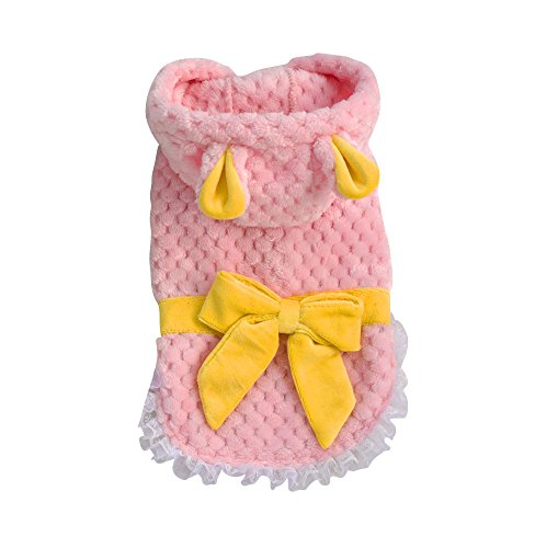 Dogloveit Flannel Cute Rabbit Ears Coat With Lace And Bow-knot Winter Warm Clothes For Dog Cat Puppy Pet,Pink,XX-Large