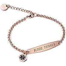 linnalove-Pre-Engraved Rose Gold Simple Rolo Chain Medical id Bracelet for Women & Girl