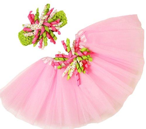 Pink & Lime Polka Dots Baby Tutu & Korker Bow Headband Combo (0-24 (Polka Dots Satin Headband)