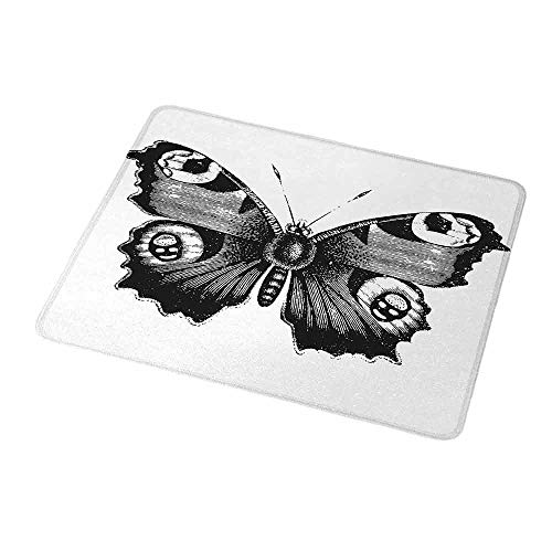 Gaming Mouse Black and White,Vanessa Peacock Butterfly Vintage Style Wildlife Theme Nature Artwork,Black White,Customized Rectangle Non-Slip Rubber Mousepad Gaming Mouse Pad 9.8