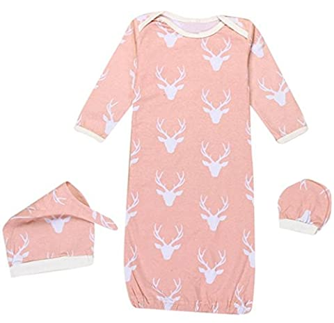Baby Boys Girls Reindeer Sleeper Gown Hat No Scratch Mittens 3Pcs Outfit Clothes size 0-12 Months/S - Girls Pink Sleeper