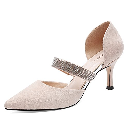 HGTYU Verano Sandalias Zapatos De Mujer Baotou Enlazando Con El Salvaje Verano Consejos 7Cm De Alto Talón Zapatos Beige