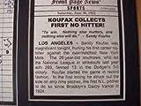 11X14 FRAMED SANDY KOUFAX NO HITTER PHOTO SCORECARD BROOKLYN DODGERS 8X10 PHOTO