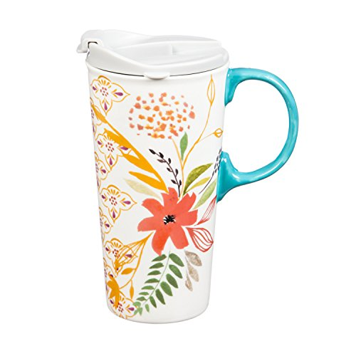 Cypress Home Eastern Watercolor Floral Ceramic Travel Coffee Mug with Gift Box, 17 ounces