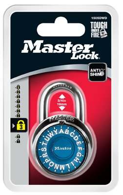 Master Lock 1505DWD Alpha Combination Padlock - Colors May Vary - Quantity (Master Combination Alpha Padlock)