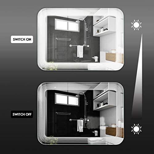 home, kitchen, home décor, mirrors,  wall-mounted mirrors 8 image Tangkula LED Lighted Bathroom Mirror, Wall Mounted Rectangle deals