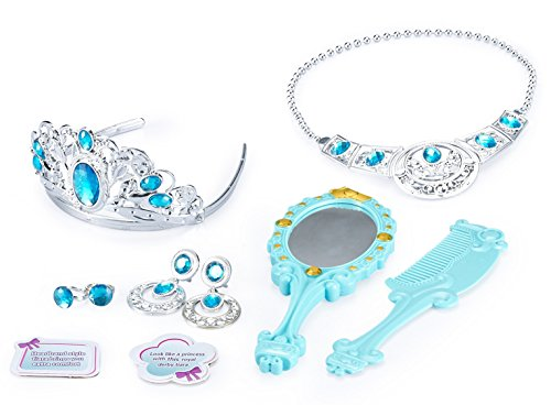 (JaxoJoy Princess Beauty Set - Play Pretend Dress Up Jewelry Gift Set for Girls Includes Princess Tiara, Necklace, Earrings, Rings, Comb & Mirror - Recommended for Ages 3+)