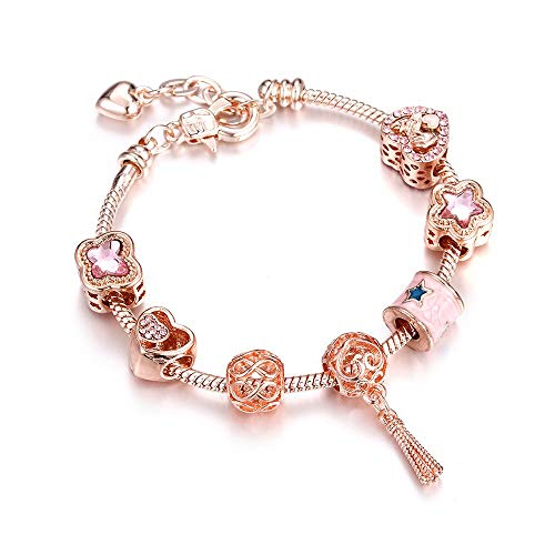 RQQDSZ Trend Lobster Chain Crystal Bracelet Tassel Crown Shell Flower Heart Wedding Silver Bangles Women Customize Jewelry 7 Strand Coated Chain