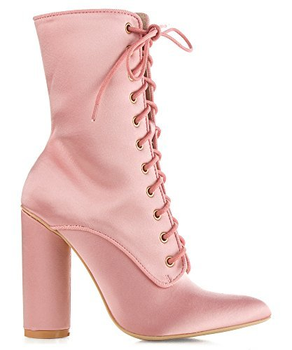 Womens Pink Boots (Cape Robbin PAW-50 Womens Satin Lace Up Fashion Ankle Booties (8.5, Pink Satin))