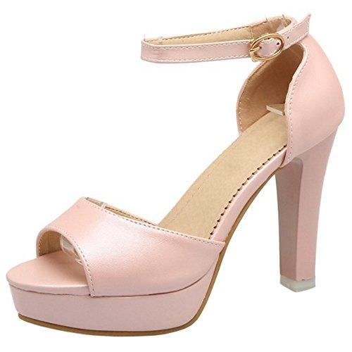 COOLCEPT Mujer Moda Al Tobillo Sandalias Peep Toe Tacon Ancho Plataforma Zapatos Rosado