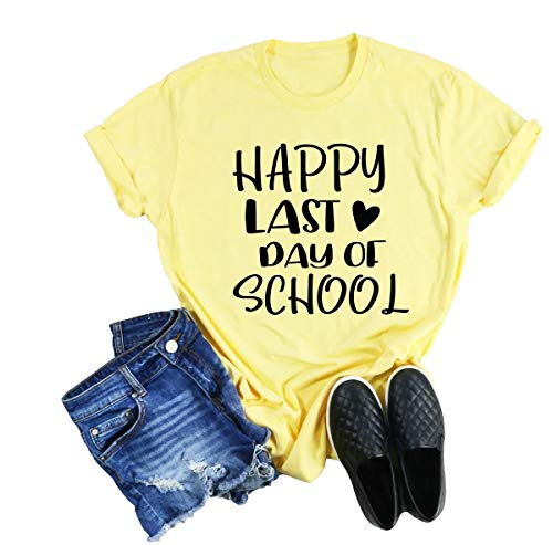 Kauilry Womens Happy Last Day of School Shirts Short Sleeve Crew Neck Graphic Tee Tops Yellow