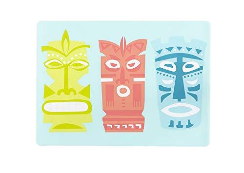ビニールプレースマット テーブルマット ハワイアンテーマ ティキルアウパーティー 12 x 18 ワイプオフ ソフトタッチ ティキデザイン 12 x 16インチ 4枚セット   B07P137QRC