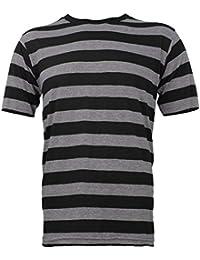 Striped Short Sleeve Shirt Black Stone Grey Adult