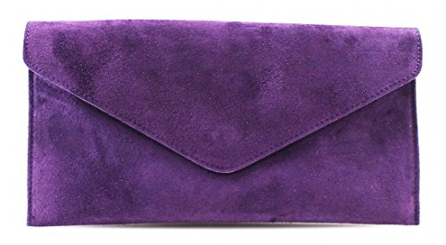 Underarm Large Purple Evening Leather Wrist Shoulder Shaped Verapelle Suede Party Genuine Envelope Clutch Italian Bag rUrTnwPpq6