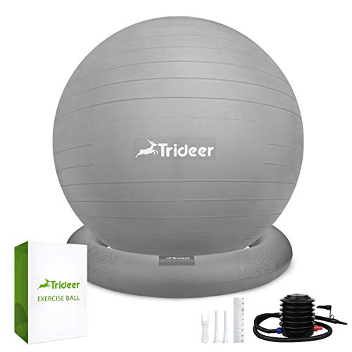Trideer Ball Chair - Exercise Stability Yoga Ball with Base for Home and Office Desk, Ball Seat, Flexible Seating with Ring & Pump, Improves Balance, Back Pain, Core Strength & Posture(Ball with Ring (Sitting On Medicine Ball Good For Back)