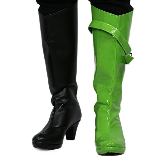 Kim Possible Shego Boots PU Black Green Unique Cosplay Costume Shoes 37 -