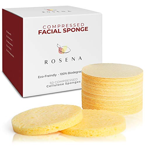 Compressed Cellulose Facial Cleansing Sponges - 50 Count Natural Reusable Makeup Mask Remover Round Face Sponge - Facial Cellulose Sponges