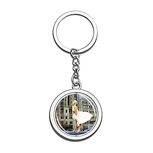 USA United States Keychain The Magnificent Mile Chicago Key Chain 3D Crystal Spinning Round Stainless Steel Keychains Travel City Souvenirs Key Chain Ring]()