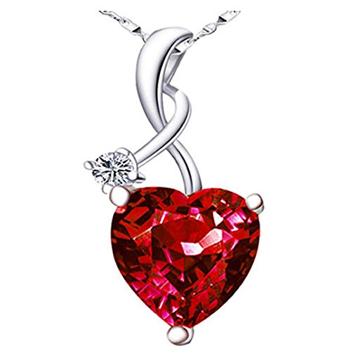Mabella Sterling Silver 4ct Lab Created Ruby Gemstone Heart Shaped Pendant Necklace, 18
