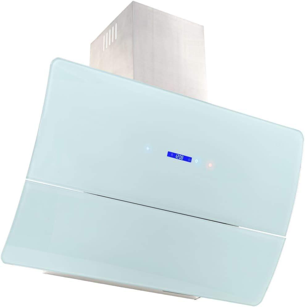 Nishore Campana Extractora Decorativa de Bajo Nivel de Ruido, con Controles Táctiles, Luces LED y Pantalla LCD, 3 Velocidades Variables Acero Inoxidable 90 x 37 x 83cm 756m³/h Blanco: Amazon.es: Hogar