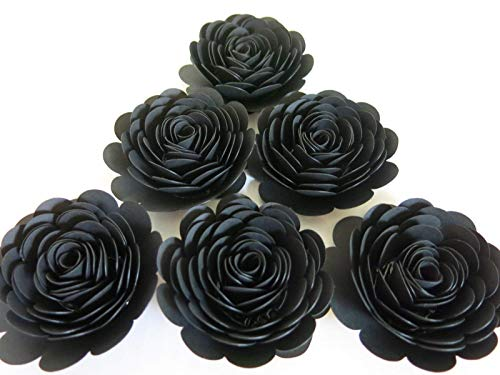 Black Paper Roses, Set of 6 3 Inch Flowers, Retirement Decorations, 50th Birthday Party Decor, Halloween Table Centerpiece Scatter, Wedding -