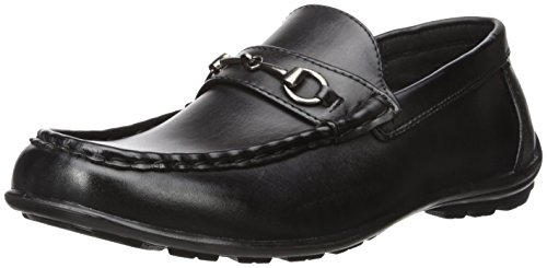 Black Kid Leather Driving - Deer Stags Boys' Latch Driving Style Loafer, Black, 6 Medium US Big Kid