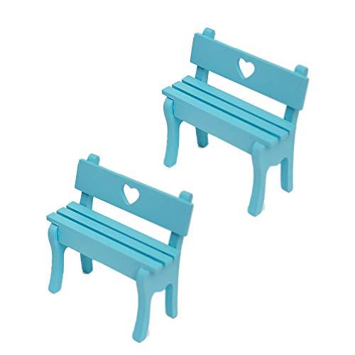 (X Hot Popcorn 2 Pcs Miniature Wooden Stool Bench Model Desktop Ornaments, Decor Accessories for Kids Gift, Table Office Novelty Decoration(Blue))