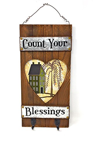 Country Farmhouse Style Wood & Metal Key Hook Holder Inspirational Rustic Wall Decor (Heart)