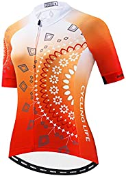 Cycling Jersey Women Skull Short Sleeve Bike Shirt Quick-Dry Breathable Reflective S-2XL Tops